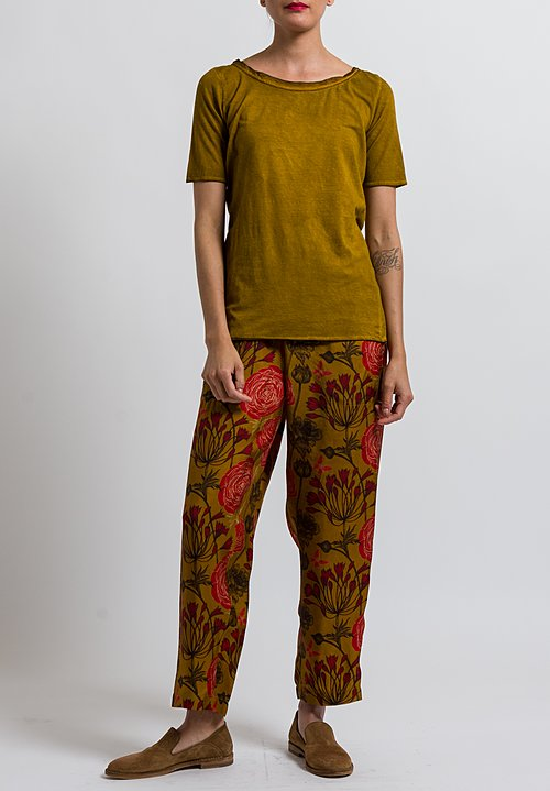 Uma Wang Floral Palmer Pants in Mango/ Red/ Black