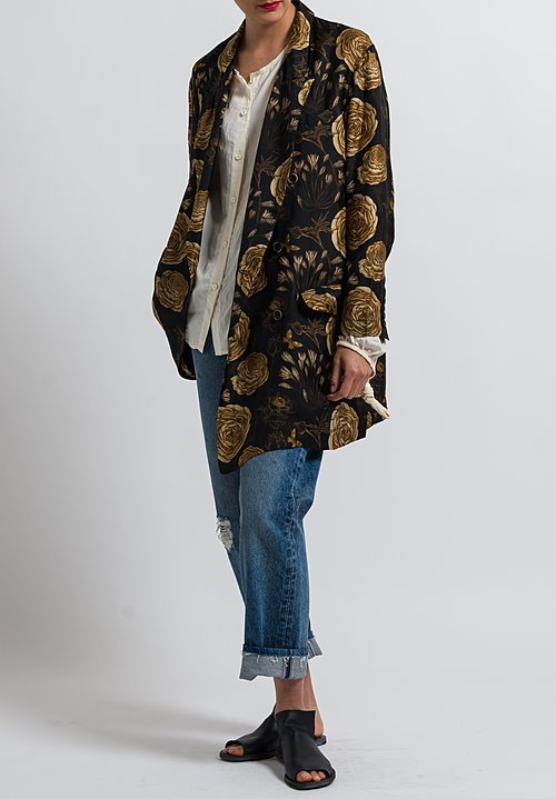 Uma Wang Floral Kaira Jacket in Black/ Tan/ Coffee