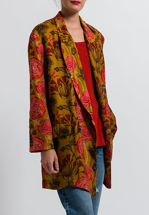 Uma Wang Floral Kaira Jacket in Mango/ Red/ Black