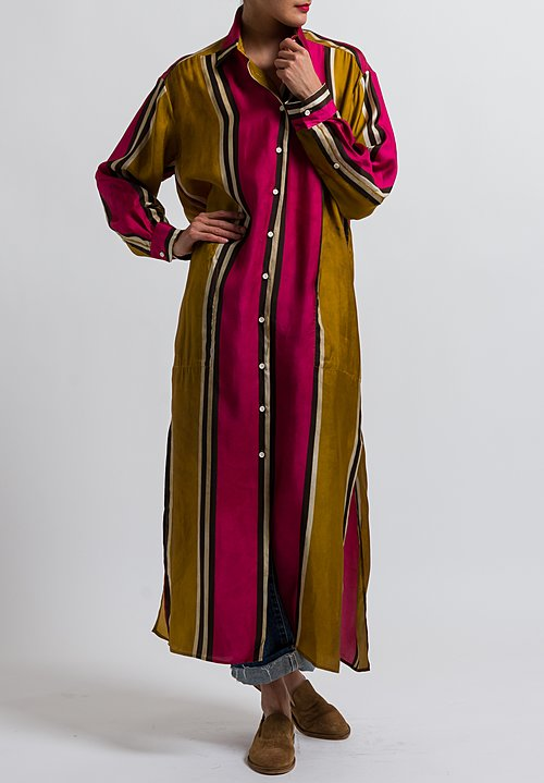 Uma Wang Striped Long Amare Shirt Dress in Mango/ Flamingo