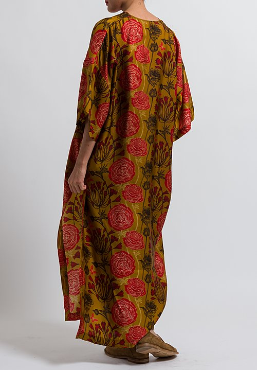 Uma Wang Floral Ali Dress in Mango/ Red/ Black