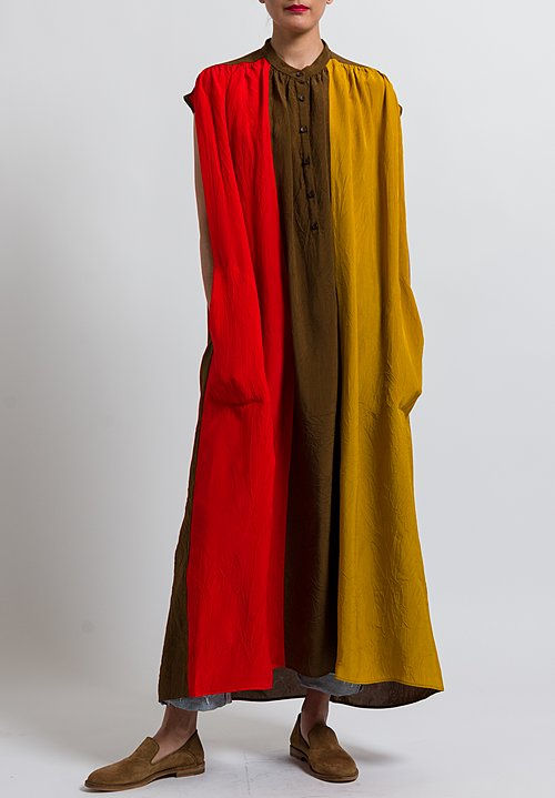 Uma Wang Long Alghero Abdulla Dress in Mango/ Red/ Coffee