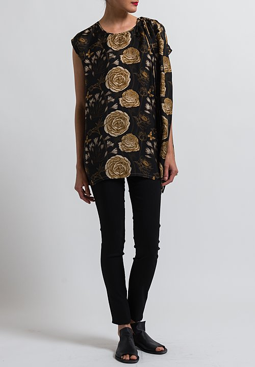 Uma Wang Floral Tavia Blouse in Black/ Tan/ Coffee