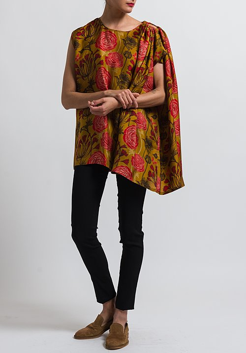 Uma Wang Floral Tavia Blouse in Mango/ Red/ Black
