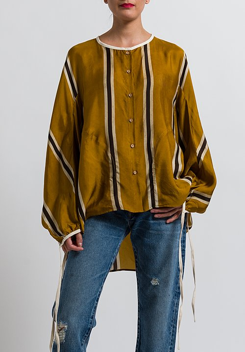 Uma Wang Striped Tamala Shirt in Mango/ Brown/ Tan