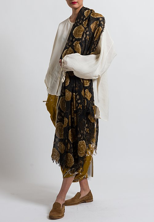 Uma Wang Foral Scarf in Black / Tan / Coffee