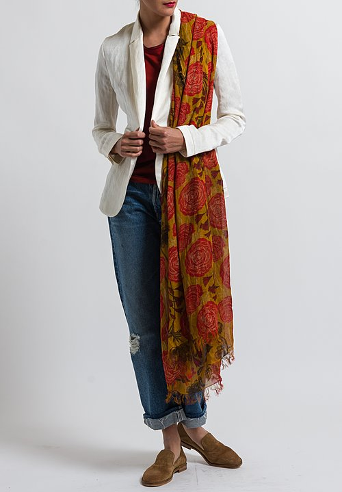 Uma Wang Foral Scarf in Mango / Red / Black