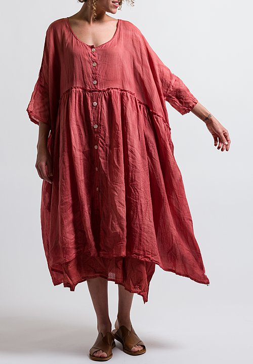 Gilda Midani Solid Dyed Linen/ Cotton Oversized Dress in Red