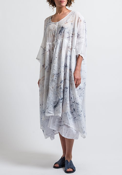 Gilda Midani Pattern Dyed Linen/ Cotton Oversized Dress in Spatula