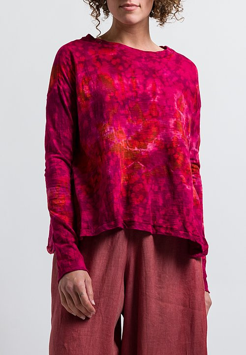Gilda Midani Pattern Dyed Long Sleeve Trapeze Tee in Pink Windflower