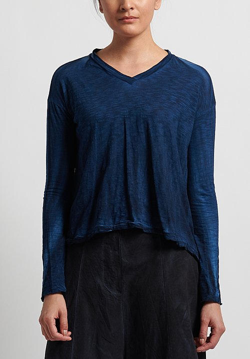 Gilda Midani V-Neck Trapeze Tee in Deep Blue