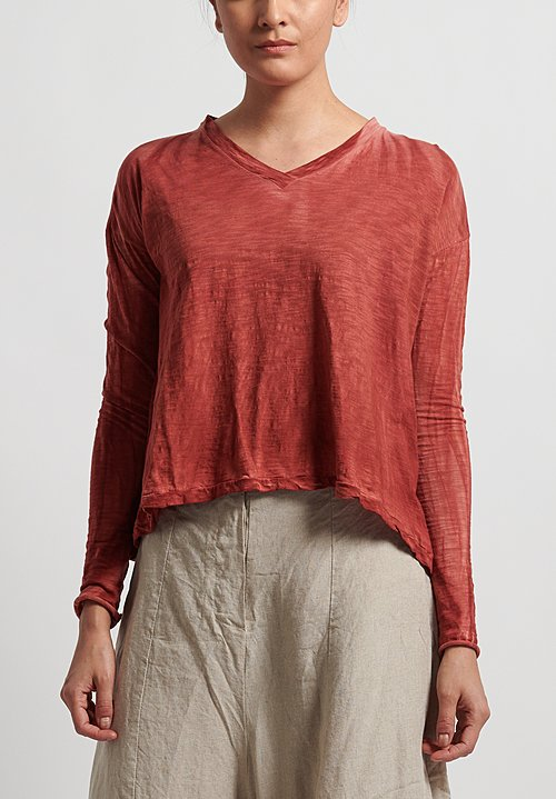 Gilda Midani V-Neck Trapeze Tee in Flame