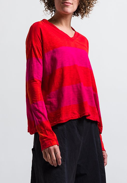 Gilda Midani Pattern Dyed Long Sleeve V-Neck Trapeze Tee in Stripes Orange & Pink