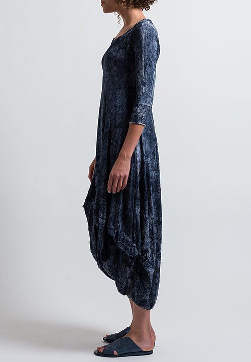Gilda Midani Pattern Dyed 3/4 Sleeve Balloon Dress in Mist