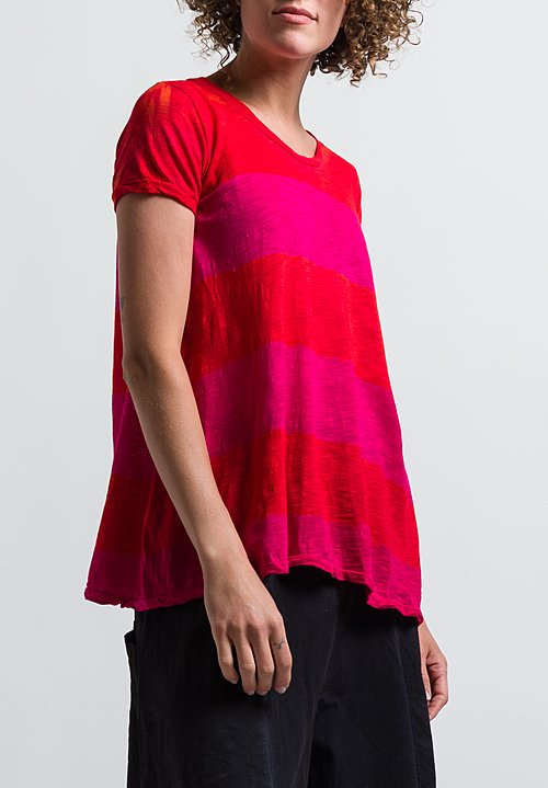 Gilda Midani Pattern Dyed Monoprix Tee in Stripes Orange + Pink