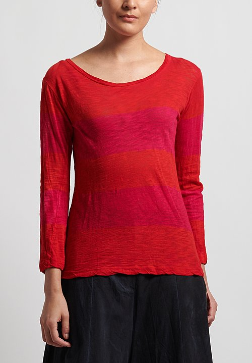 Gilda Midani New Round Tee in Stripes Orange + Pink