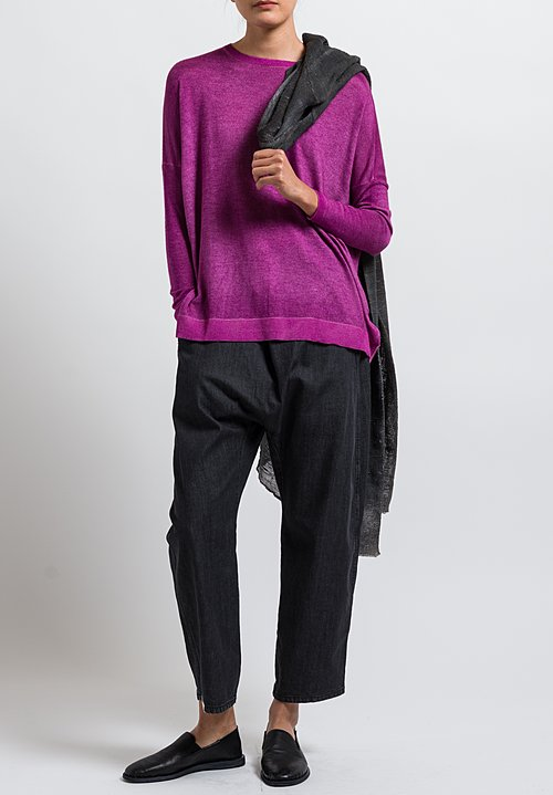 Avant Toi Cashmere/ Silk Relaxed Lightweight Sweater in Magenta