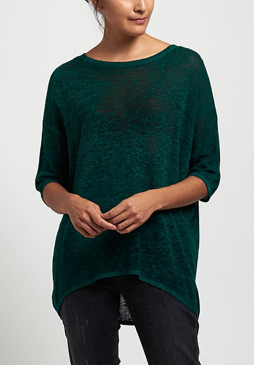 Avant Toi Oversized Lightweight Linen Top in Pine