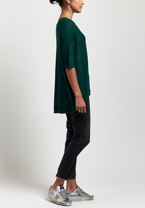 Avant Toi Oversized Lightweight Linen Top in Nero/ Smeraldo
