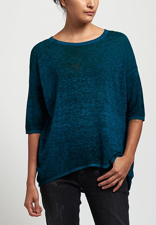 Avant Toi Oversized Lightweight Linen Top in Nero/ Turchese