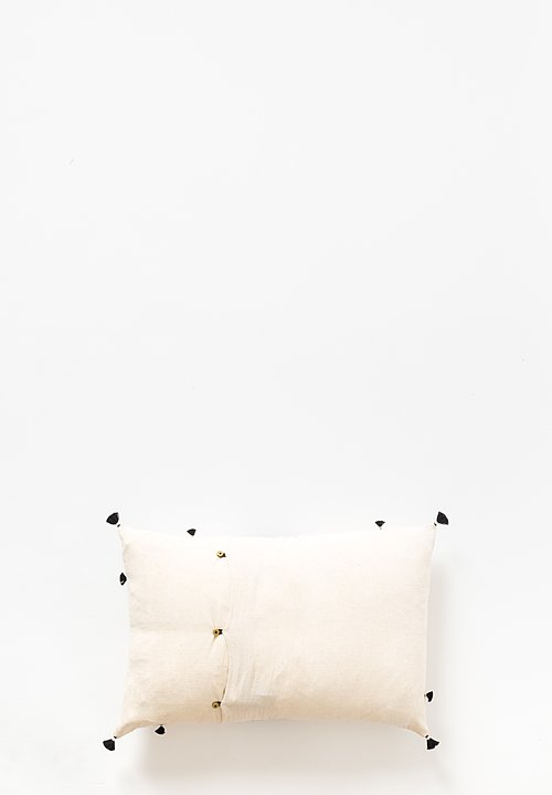 Injiri Khadi Cotton Rebari Lumbar Pillow in Cream / Black