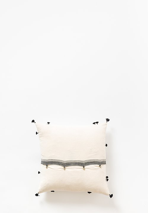 Injiri Khadi Cotton Rebari Pillow in Cream / Black