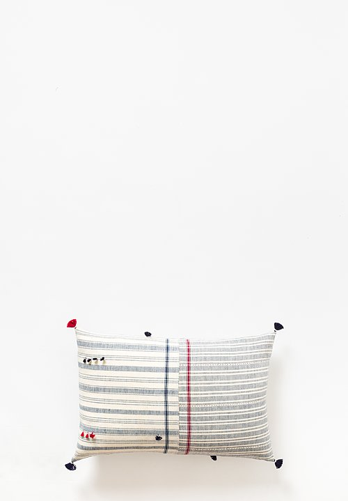 Injiri Cotton Nila Lumbar Pillow in Cream / Navy