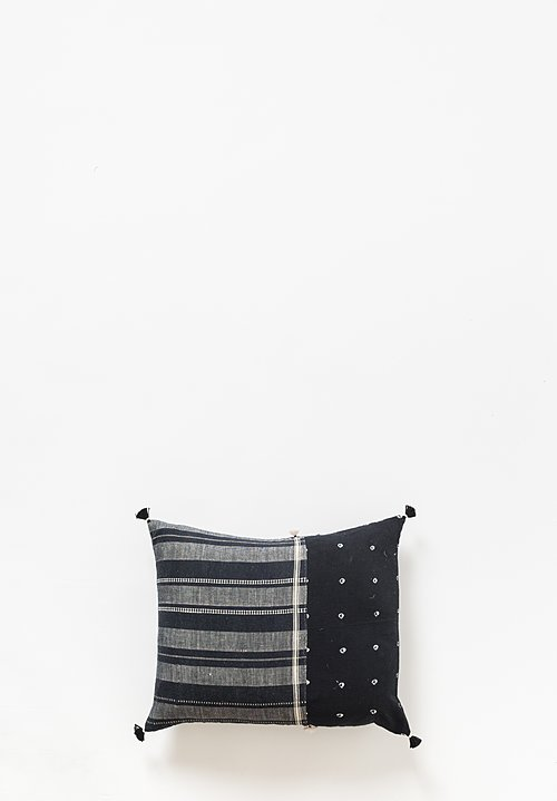 Injiri Small Organic Cotton Jat Lumbar Pillow in Black