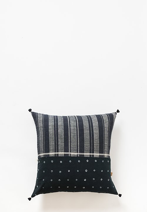 Injiri Large Organic Cotton Handmade Jat Pillow in Black