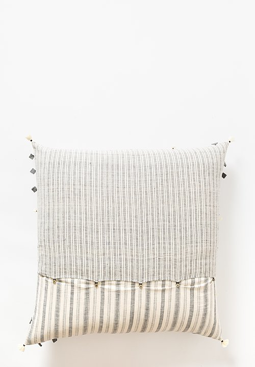 Injiri Handwoven XLarge Rebari Square Pillow in Cream / Grey