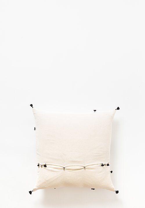 Injiri Large Khadi Cotton Rebari Pillow in Cream / Black