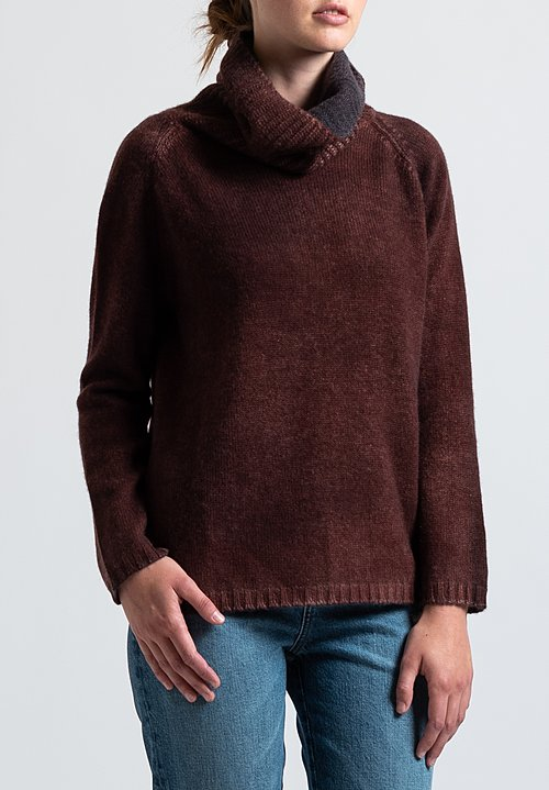 Avant Toi Square Turtleneck Sweater in Nero/ Brick
