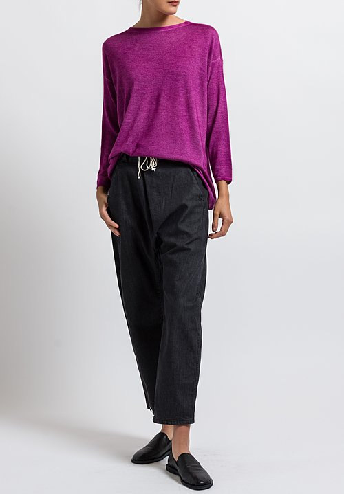 Avant Toi Cashmere/ Silk Lightweight Barchetta Sweater in Magenta