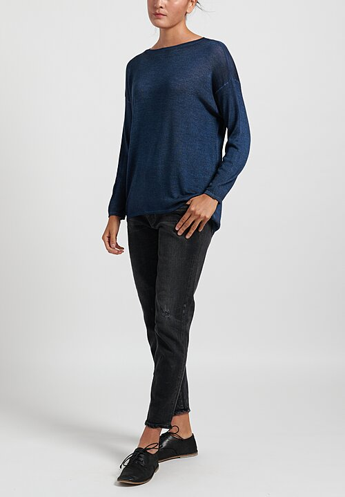 Avant Toi Cashmere/ Silk Lightweight Barchetta Sweater in Deep