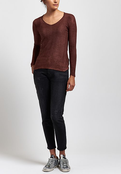 Avant Toi Hand-Painted V-Neck Sweater in Brown