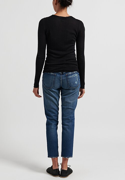 Avant Toi Rolled Hem Sweater in Nero