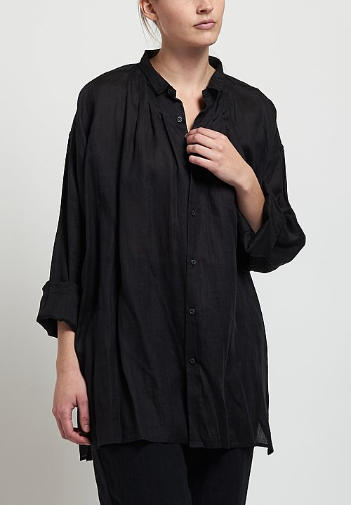 Kaval Pleated Front Blouse in Black