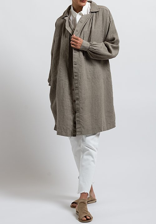 Kaval High Count Linen Smock Jacket in Beige