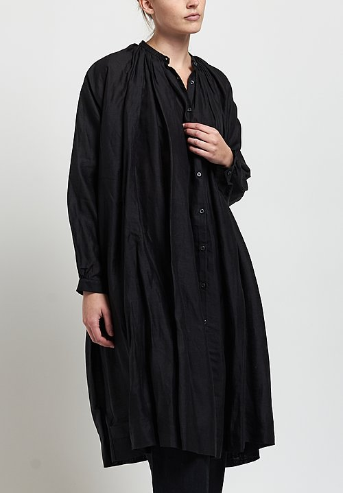 Kaval Long Gathered Tunic in Black