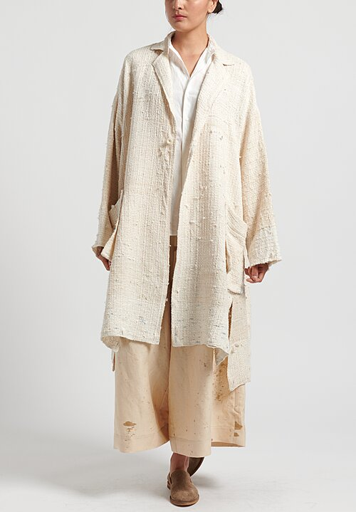 Kaval Hand Woven Stole Coat in Natural