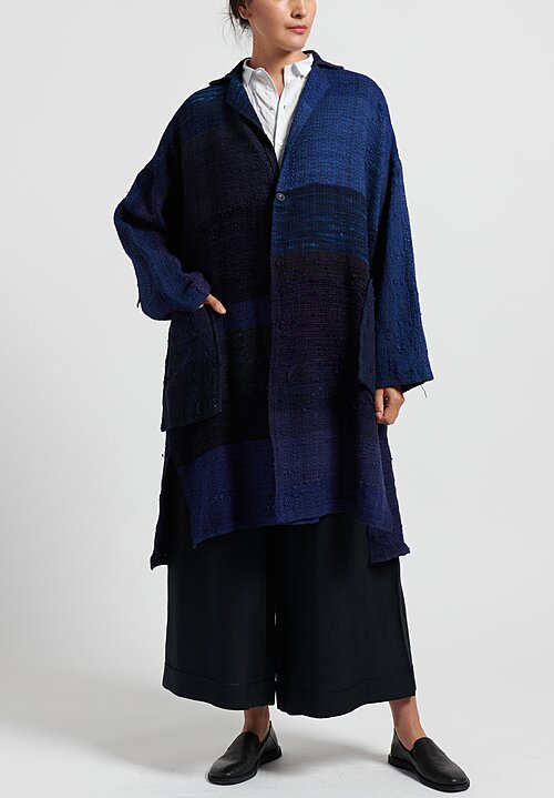 Kaval Hand Woven Stole Coat in Indigo