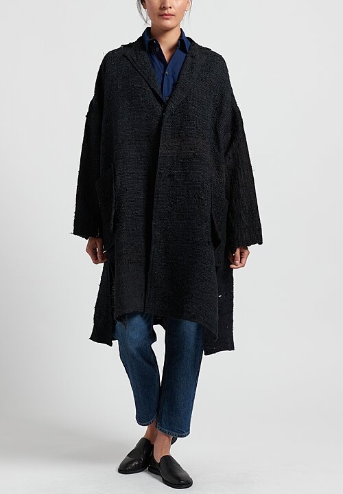 Kaval Hand Woven Stole Coat in Black