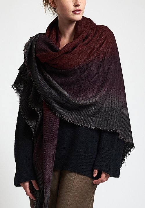 Alonpi Cashmere Hand-Painted Plaid Shawl in Spectra / Bis