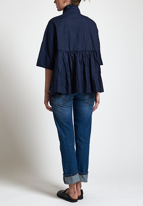 Daniela Gregis Crinkled Poppy Jacket in Blue Navy