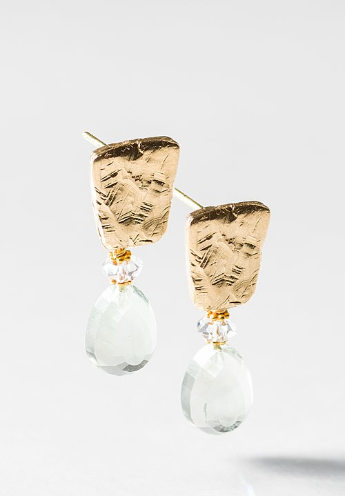 Greig Porter 18K, Prasiolite and Herkimer Diamond Briolette Post Earrings