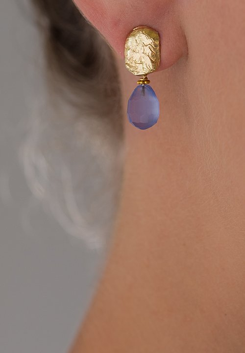 Greig Porter 18K, Briolette-Cut Blue Chalcedony Earrings