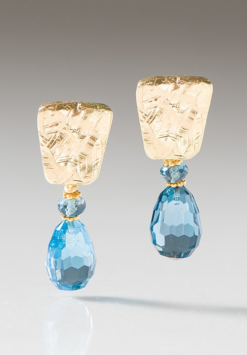 Greig Porter 18K, Briolette L.B. Topaz & Textured Post Earrings