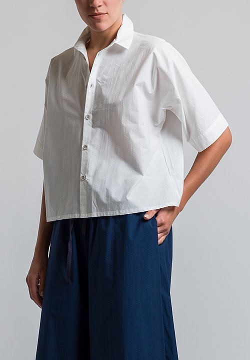 Toogood Percale Gardener Short Shirt in Chalk