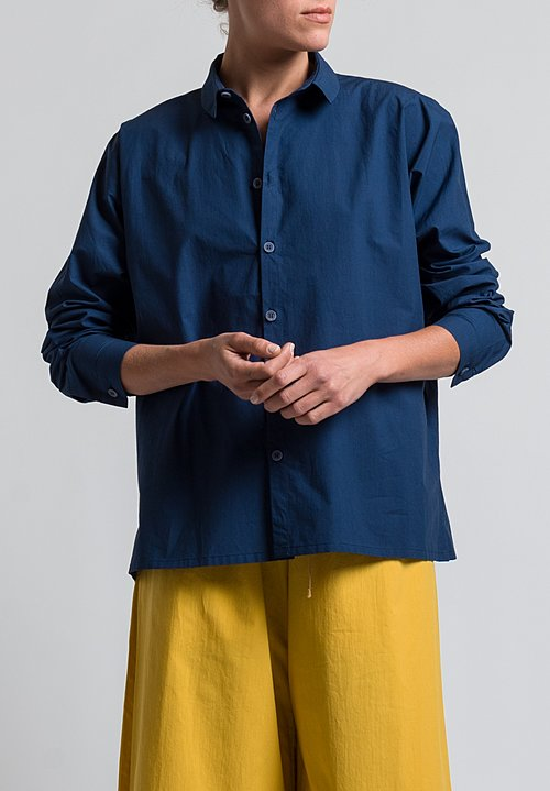 Toogood Cotton Percale Gardener Long Shirt in Water