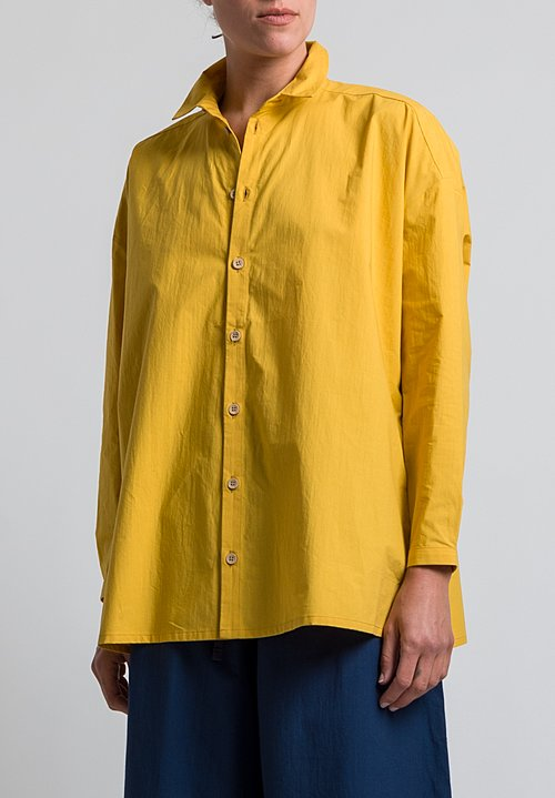 Toogood Cotton Percale Draughtsman Long Shirt in Sun